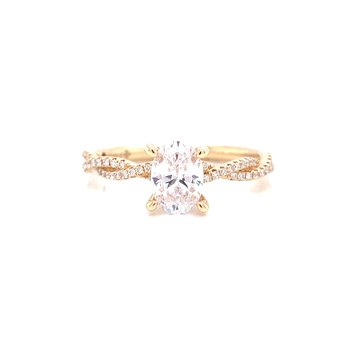 14K Yellow Gold Oval Solitaire with Infinity Diamond Shank