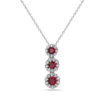 14 Karat White Gold 3-Stone Ruby with Diamond Halo Fashion Necklace
