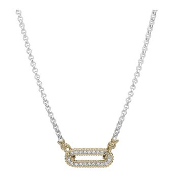 14 Karat Yellow Gold and Sterling Silver Elongated Oval Diamond Vahan Necklace
