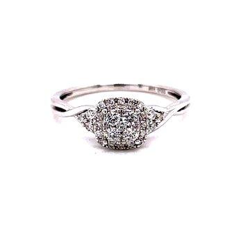 14 Karat White Gold Round Illusion Diamonds with Cushion Diamond Halo Promise Ring