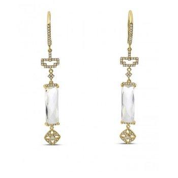 14 Karat Yellow Gold White Topaz and Diamond Dangle Drop Earrings