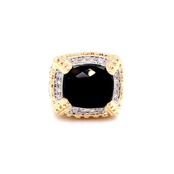 14 Karat Yellow Gold and Sterling Silver Rectangle Checkered Black Onyx Ring with Diamond Accent