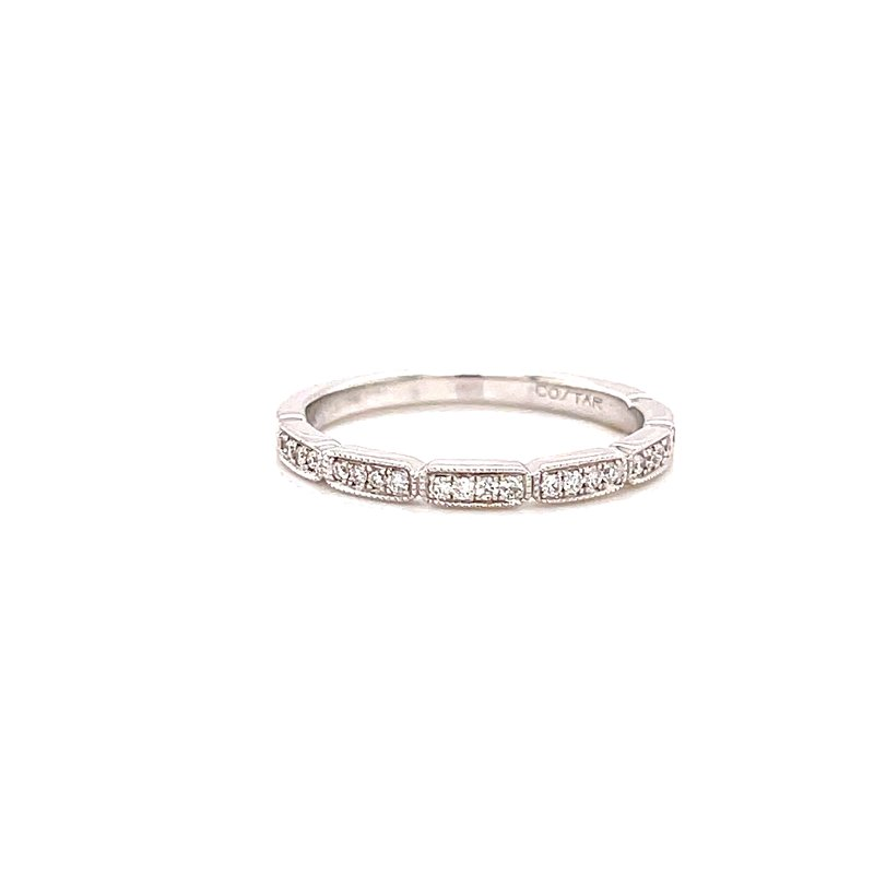Corinth Collections  14 Karat White Gold Round Diamond Vintage Stacker Band with Milgrain and Filligree Detail