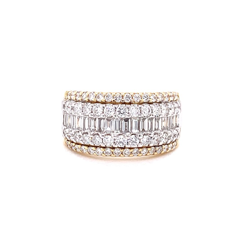 Corinth Collections  14K Yellow Gold Round and Baguette Diamond Band