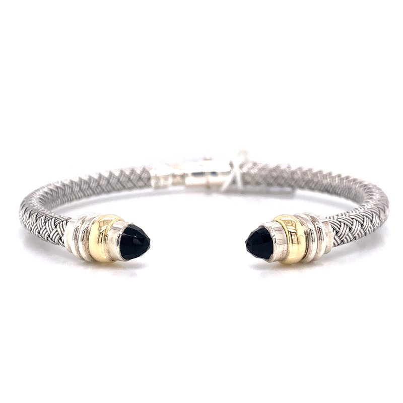 Corinth Collections  Italian Silver and 18K Yellow Gold Hinged Cuff with Black Onyx Tips
