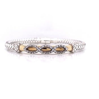 Italian Silver with 18K Yellow Gold Bar with Diamond Triple Accent