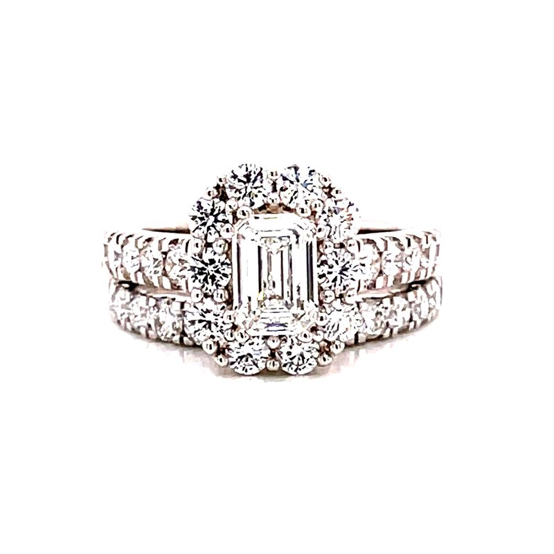 Corinth Collections  14 Karat White Gold Lab Grown Emerald Cut Center Stone with Round Diamond Halo Engagement Ring with Matching Diamond Band