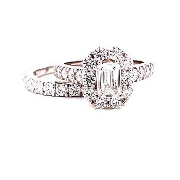 14 Karat White Gold Lab Grown Emerald Cut Center Stone with Round Diamond Halo Engagement Ring with Matching Diamond Band