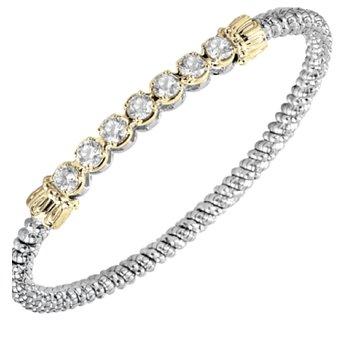 14 Karat Yellow Gold and Sterling Silver CZ Bar Vahan Bracelet