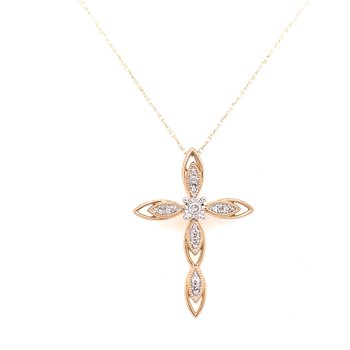 10K Yellow Gold Diamond Cross Necklace