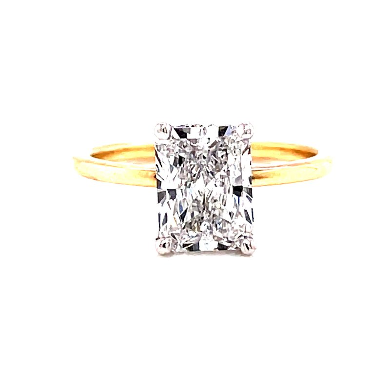Corinth Collections  14 Karat Yellow Gold with White Gold Prongs Radiant Solitaire Engagement Ring with Hidden Diamond Halo