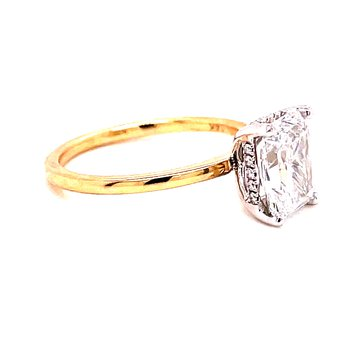 14 Karat Yellow Gold with White Gold Prongs Radiant Solitaire Engagement Ring with Hidden Diamond Halo