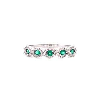 14K White Gold Emerald and Diamond Infinity Band