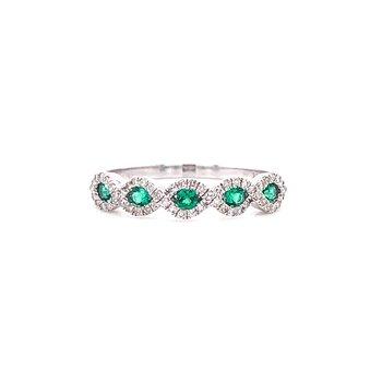 14K White Gold Emerald and Diamond Infinity Band