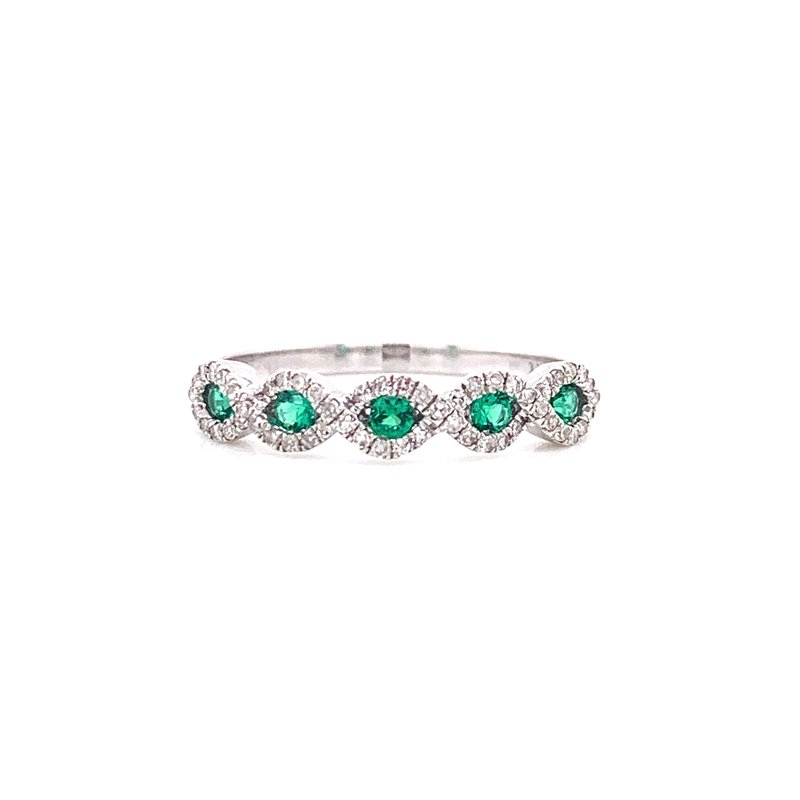 Corinth Collections  14K White Gold Emerald and Diamond Infinity Band