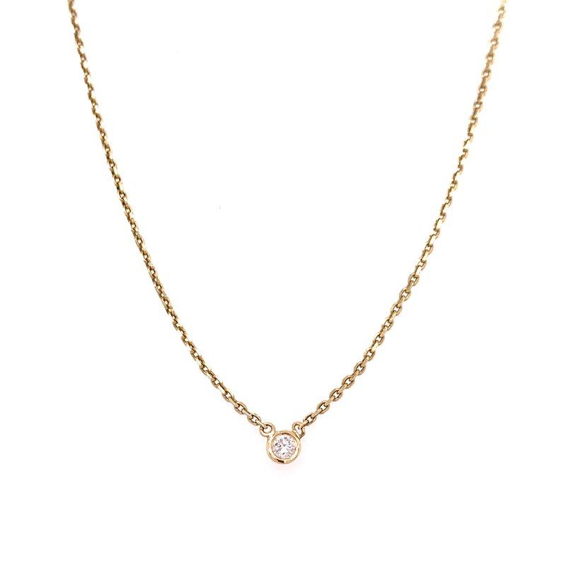 Corinth Collections  14K Yellow Gold Single Diamond Bezel Necklace