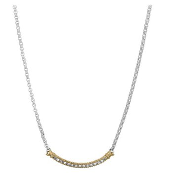 14 Karat Yellow Gold and Sterling Silver Curved Diamond Bar Vahan Necklace