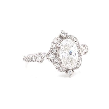 14K White Gold Vintage Oval with Diamond Halo