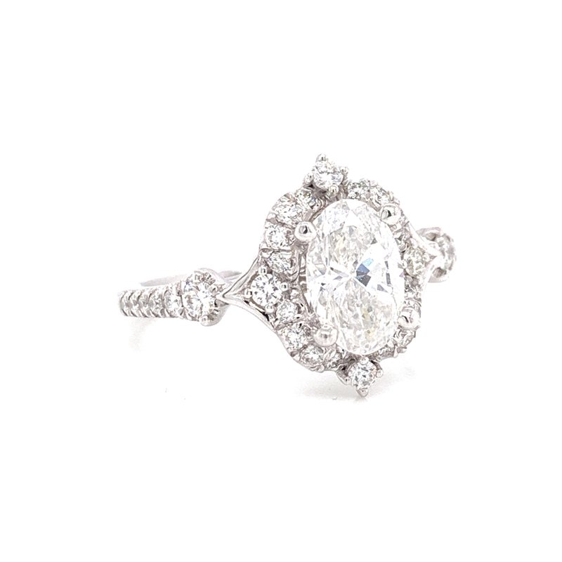 Corinth Collections  14K White Gold Vintage Oval with Diamond Halo
