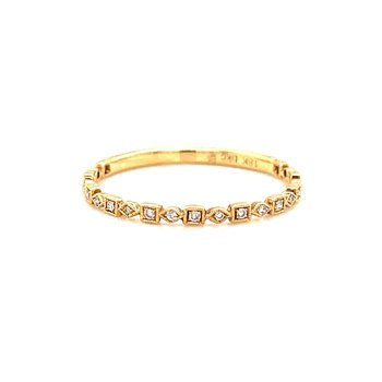 18 Karat Yellow Gold Cushion and Marquis Petite Diamond Band
