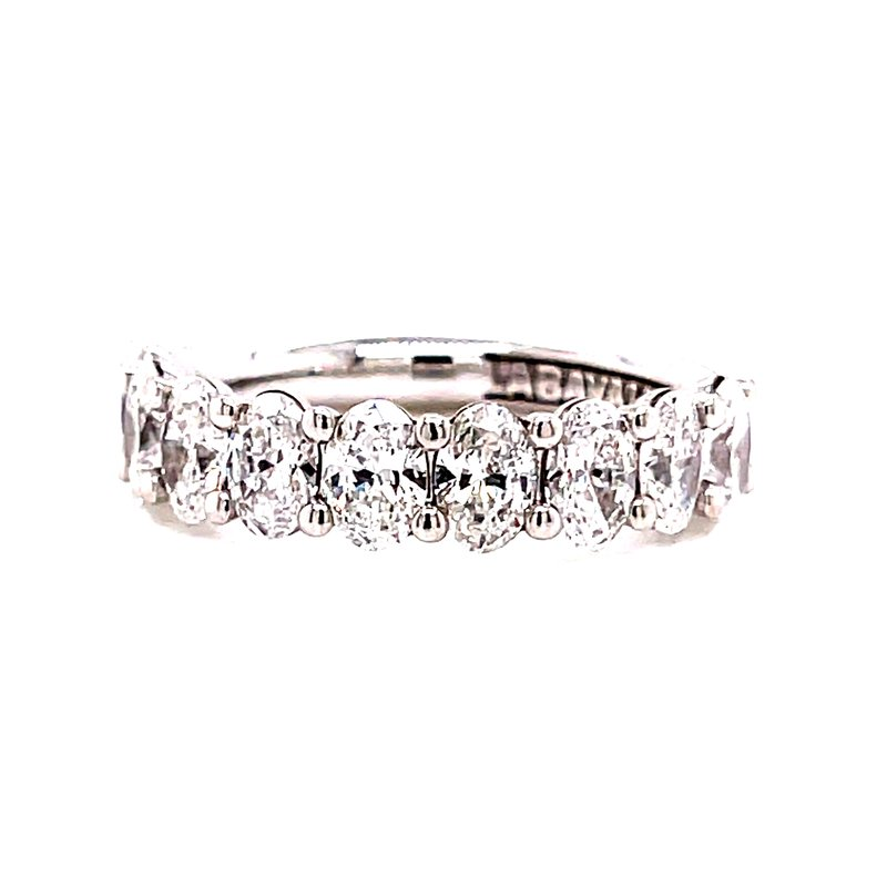 Corinth Collections  14 Karat White Gold Half Shanked Oval Cut Diamond Band