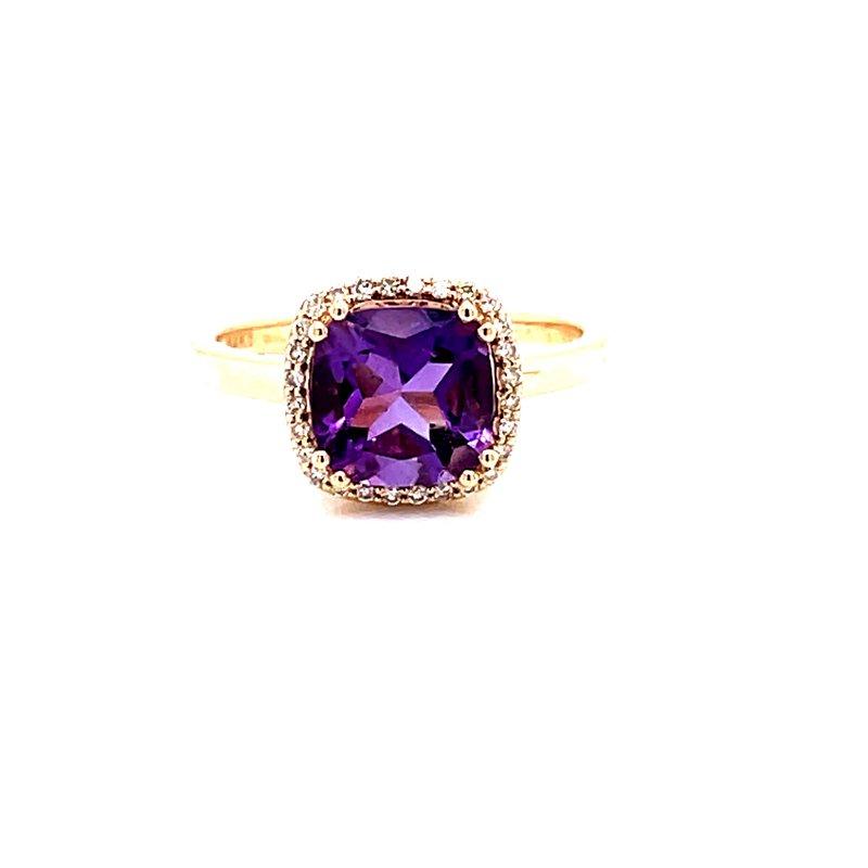 Corinth Collections  14 Karat Yellow Gold Cushion Amethyst Fashion Ring with Diamond Halo