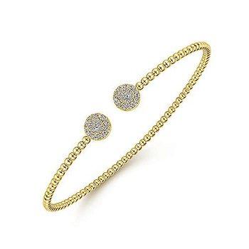 14 Karat Yellow Gold Bujukan Beaded Split Cuff Bracelet with Round Pave Diamond Dics