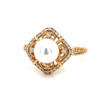 14 Karat Yellow Gold 7-7.5 mm Akoya Pearl and Diamond Ring