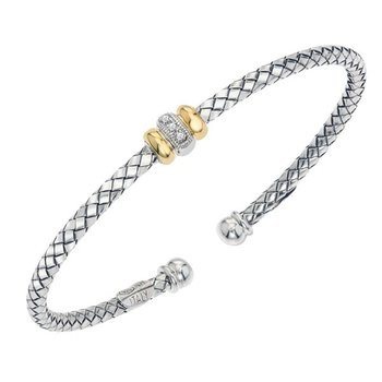 18 Karat Yellow Gold and Sterling Silver Bracelet with Two Gold Rondels and Diamond Accent