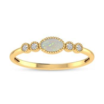 14 Karat Yellow Gold Oval Opal and Diamond Petite Fashion Band