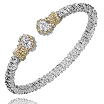14 Karat Yellow Gold and Sterling Silver Oval Cut Diamond Cuff with Scalloped Edges Vahan Bracelet