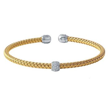 Sterling Silver and Gold Plated Cuff Bracelet with CZ Accent