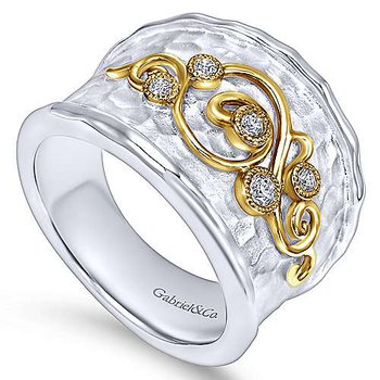 18 Karat Yellow Gold and Sterling Silver Wide Ladies' Fashion Diamond Band with Gold Accented Scroll Work Ring