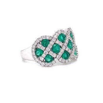14K White Gold Emerald and Diamond Band