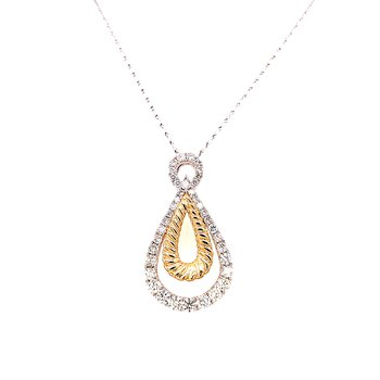 14 Karat Yellow and White Gold Double Pear Shape Diamond Fashion Necklace with Yellow Gold Rope-like Accent