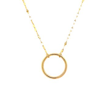14 Karat Yellow Gold Open Circle Necklace with Piatto Chain