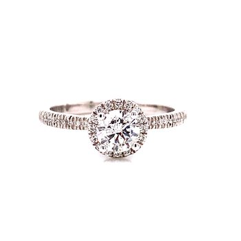 14 Karat White Gold Round Center with Diamond Halo and Shank and Hidden Halo  Engagement Ring