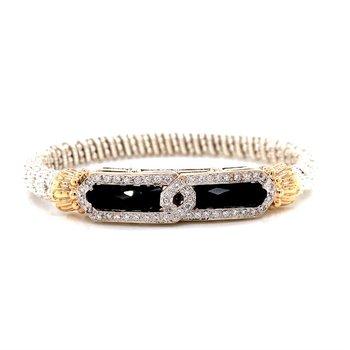 14 Karat Yellow Gold and Sterling Silver Black Onyx Double Slab Diamond Bracelet