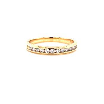14 Karat Yellow Gold Round Diamond Channel Set Diamond Stacker Band