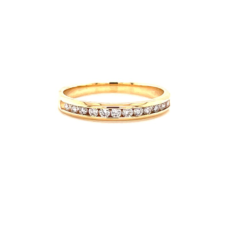 Corinth Collections  14 Karat Yellow Gold Round Diamond Channel Set Diamond Stacker Band
