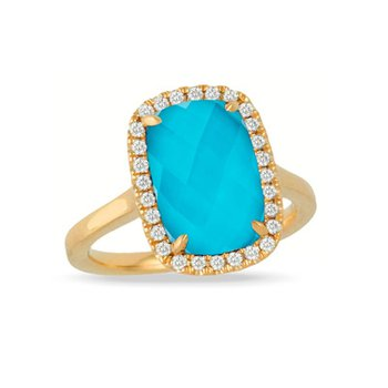 18 Karat Yellow Gold Elongated Oval cut Turquoise with Clear Quartz Overlay and Diamond Halo Fashion Ring