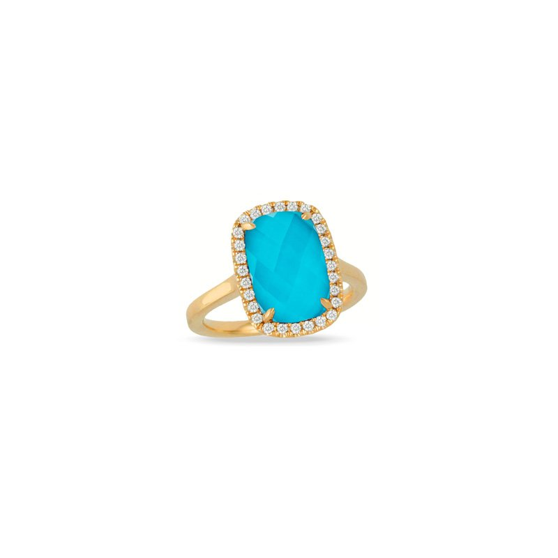 Corinth Collections  18 Karat Yellow Gold Elongated Oval cut Turquoise with Clear Quartz Overlay and Diamond Halo Fashion Ring