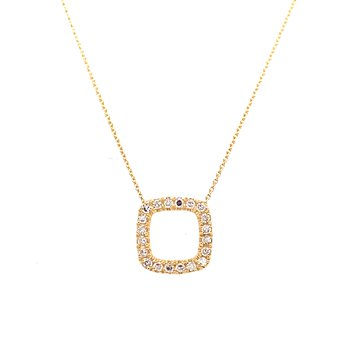 10 Karat Yellow Gold Square Diamond Necklace