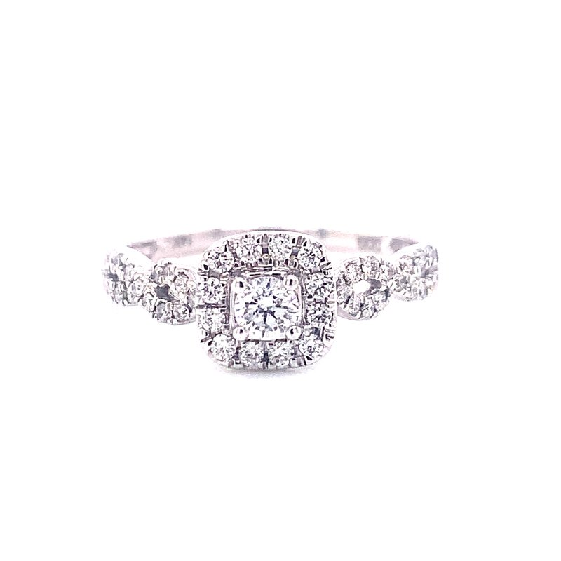 Corinth Collections  14 Karat White Gold Round Center with Cushion Diamond and Halo and Infinity Shank