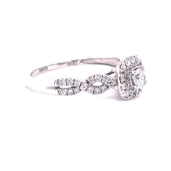14 Karat White Gold Round Center with Cushion Diamond and Halo and Infinity Shank