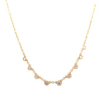 14 Karat Yellow Gold Diamond Dangle Necklace