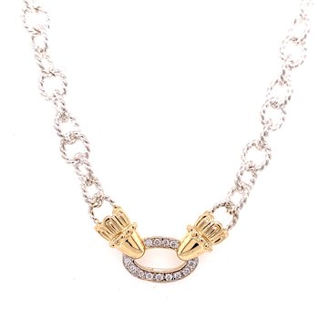 14 Karat Yellow Gold and Sterling Silver Open Diamond Oval Vahan Necklace