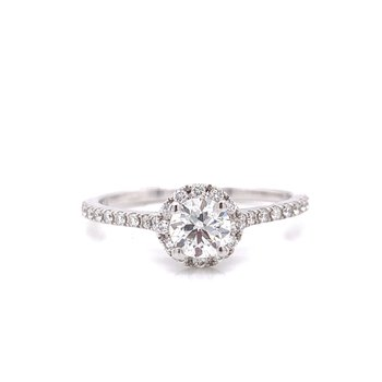 14 Karat White Gold Round Center with Diamond Halo Engagement Ring