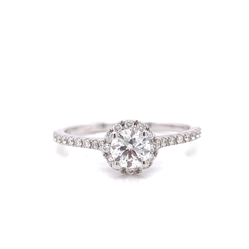 Corinth Collections  14 Karat White Gold Round Center with Diamond Halo Engagement Ring