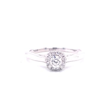 14 Karat White Gold Round Center with Diamond Halo and Polished Shank Engagement Ring